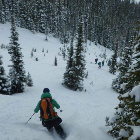 Jen Fahy skiing powder