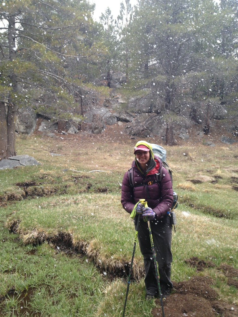 emily backpacking snow sierra nevada alpine meadow