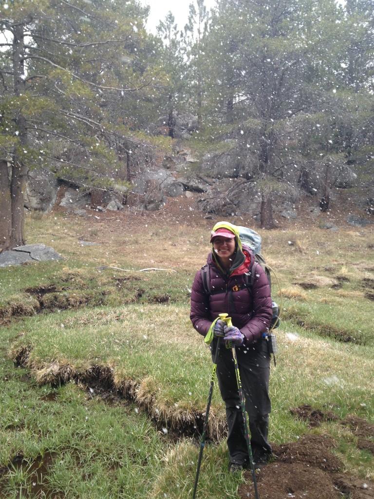 emily backpacking snow sierra nevada alpine meadow