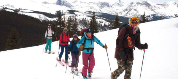 beginner ski tour all skinning