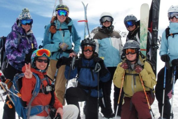 Beginner Backcountry Ski Mountaineering Group of Women in Colorado