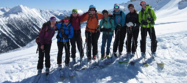 Backcountry Babes atop Wolverine Bowl