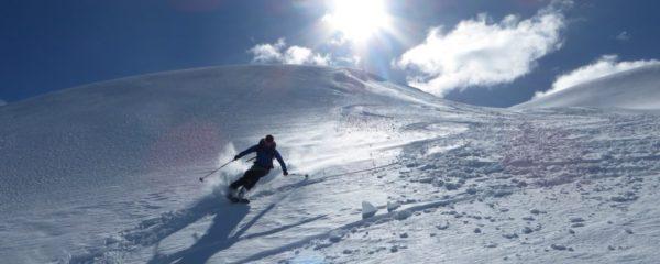 ACMG ski guide Emily Grady skis wolverine peak in British Columbia backcountry near Powder Creek Lodge