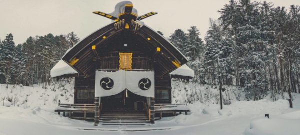 shinto shrine in Japan in the snow