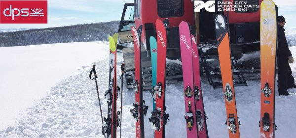 Rainbow of DPS Skis lined up at PC Powder Cats in Salt Lake City Utah for avalanche class
