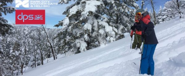 women cat skiing at park city powder cats in DPS Skis for Avalanche Class