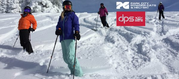 women powder skiing at Park City Powder Cat Guides in for AIARE avalanche level 1 class