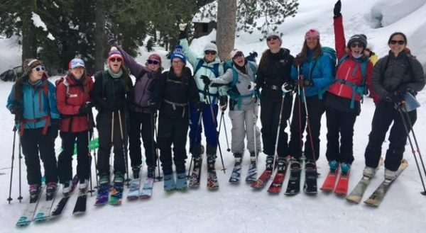 Backcountry Babes avalanche education course on Donner Summit outside Clair Tappan Lodge