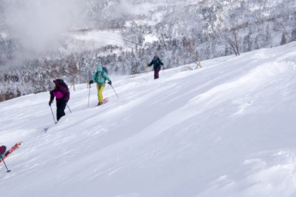 guided backcountry ski trip for women at tokachidake in hokkaido, japan