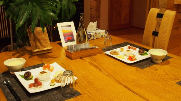 japanese dinner at northern star lodge in furano japan