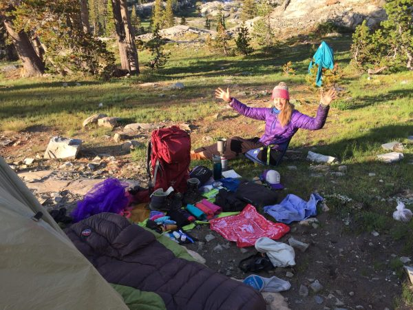backpacking guide shows off contents of entire backpack for the packing list