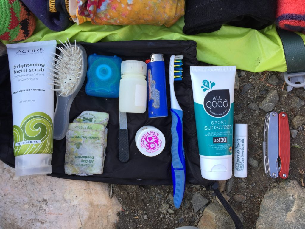 Contents of backpacking toiletry kit for packing list