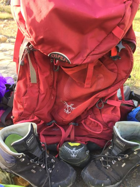 Backpack, boots, raincover for backpacking packing list