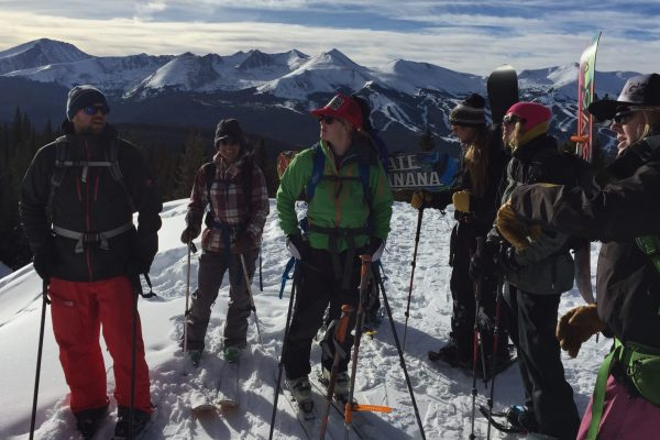learn to Backcountry Ski or splitboard on Mt Baldy with AIARE avalanche course instructors ski group