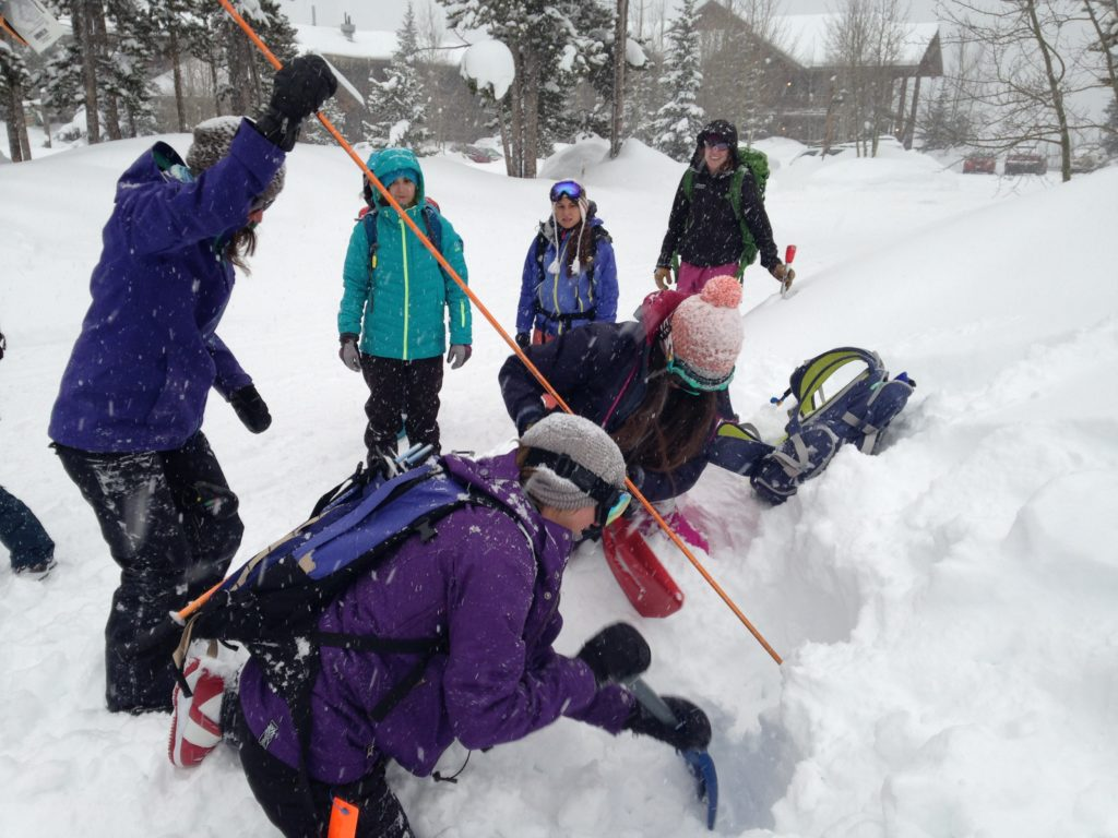 avalanche shovel and probe practice in class