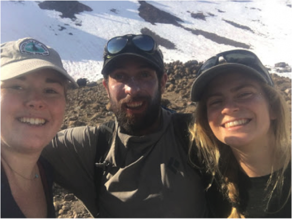 two women and a guide on shasta