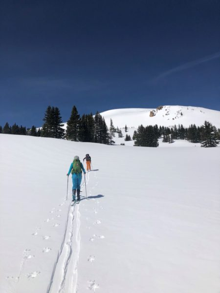 Skiers on a Backcountry Babes Course in Breckenridge, Colorado.