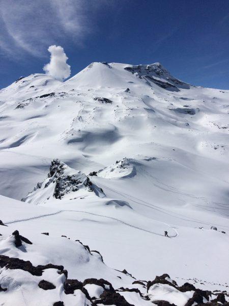 Skinning near Volcan Nuevo and Viejo Nevados de Chillan.